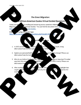 United States Middle School: The Great Migration (Virtual Guided Questions)