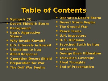 Global Policy & International Conflict - Gulf War - Operation Desert Storm