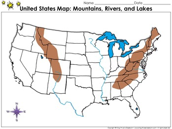United States: Mountains, Rivers, and Lakes Map - Blank - Full Page