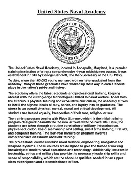 United States Naval Academy History Article and Assignment