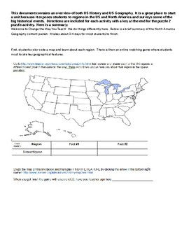 United States/North America Geography and History Puzzle Packet w/Online Games!