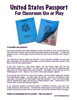United States Passport Printable for Classroom Use