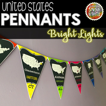 United States Pennants Banners with States, Capitals, Abbreviations {BRIGHTS}