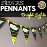 United States Pennants Banners with States, Capitals, Abbr