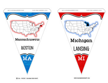 United States Pennants Banners with States, Capitals, Abbreviations {PATRIOTIC}