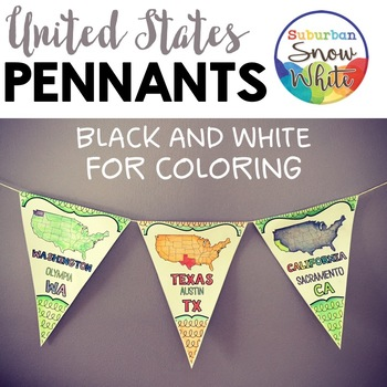 United States U.S. Pennants Banners with States, Capitals, Abbreviations {B&W}