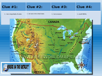 United States Physical Geography Class GAME: US Geography Scavenger Hunt