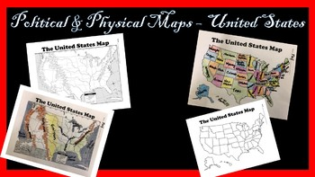 United States Physical And Political Map Bundle By History Hive Tpt