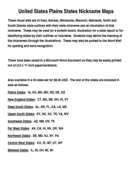United States Plains States Nickname Maps