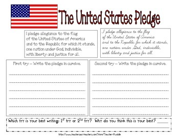 United States Pledge - Handwriting/Cursive Practice
