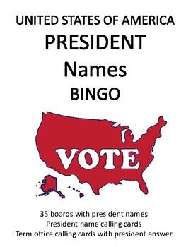 United States President Names BINGO!