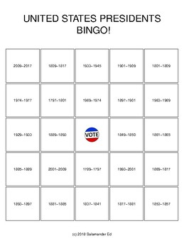 United States Presidents Office Terms BINGO!