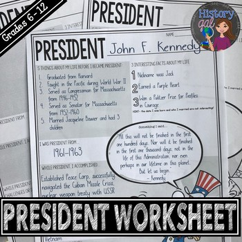 United States President Worksheet