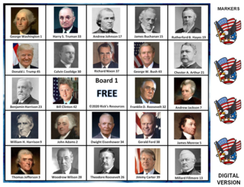 U.S. Presidents Bingo Game Includes Donald Trump