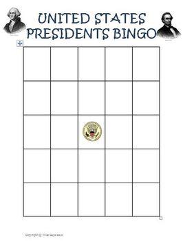 United States Presidents Day Bingo Game Activity