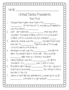 United States Presidents Fact Find