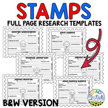 United States Presidents Research Templates for Grades 3-5