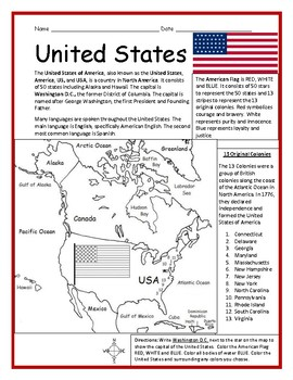 Map Of United States Printable.United States Printable Handout With Map And Flag