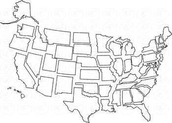 United States Region and State Map Clipart by Poppydreamz NOW WITH LINE ART