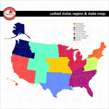 Us Map With Map Key United States Region and State Map Clipart by Poppydreamz NOW