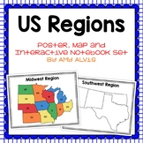 United States Regions Poster Map and Interactive Notebook INB Set