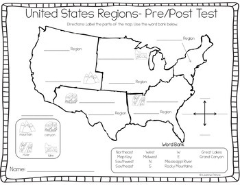 Unforgettable image with 5 regions of the united states printable map