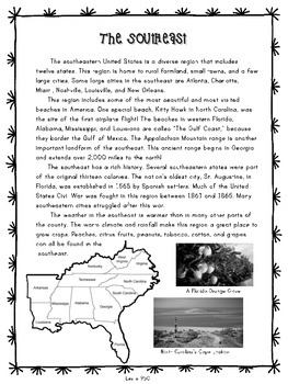 United States Regions Informational Passages