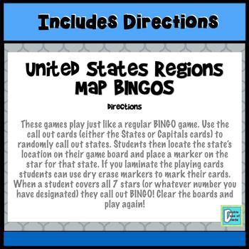 United States Regions Map BINGOS