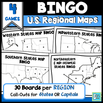 United States Regions Map BINGOS by A Double Dose of Dowda | TpT