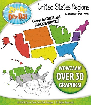 United States Regions Map Clipart — Over 30 Graphics!