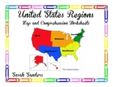 United States Regions Map Skills Worksheet and Comprehension Worksheet