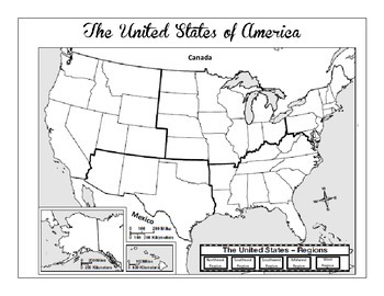 Map Of The United States By Regions.United States Regions Map Skills Worksheet And Comprehension Worksheet