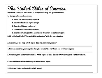 States Regions Map Skills Worksheet And Comprehension Worksheet - Us map skills worksheets