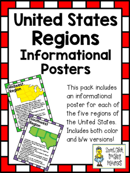 United States Regions ~ Set of 5 Informational Posters (Color & B/W)