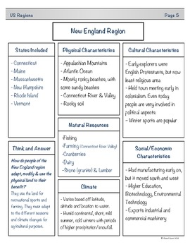 United States Regions Student Note Taking Booklet