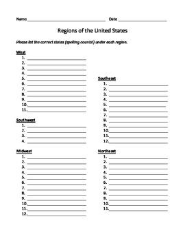 United States Regions worksheet