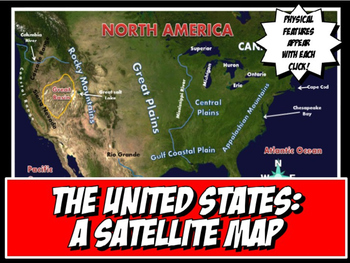 United States Satellite Map Physical Geography PowerPoint