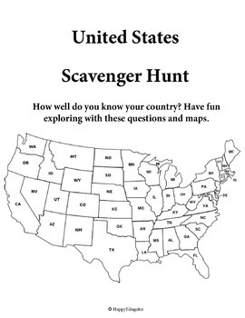 United States Scavenger Hunt with Task Cards