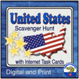 United States Scavenger Hunt and Internet Task Cards with Five U.S. Maps