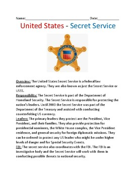 United States Secret Service - History Information Facts Lesson Questions