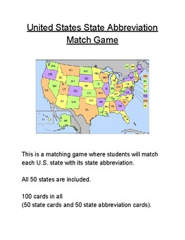 United States State Abbreviation Match Game