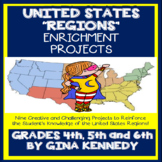 United States Regions Enrichment Project Menu, Fun Creative Projects!