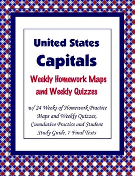United States - States and Capitals Homework and Quizzes {Complete Year}