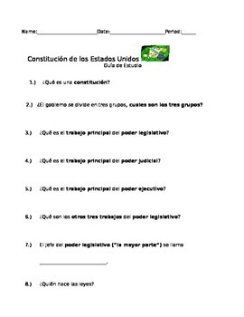 United States Study Guide Questions (Spanish)