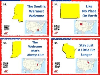 United States Task Cards w/ QR Codes - Know Your States!