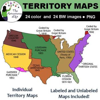 united states territory map United States Territory Maps Clip Art by The Artventurous Life | TpT