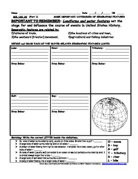 United States US History 1 SOL 2d Land Related Geographical Features