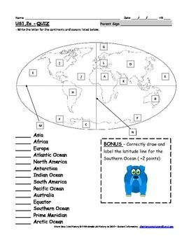 United States US History 1 SOL 2a Continents and Oceans Activity or Quiz