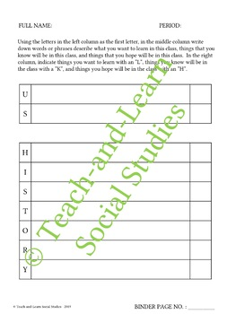 United States (US) History First-Letter Printable - Great for Back to School!