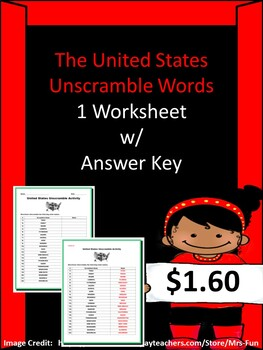 United States Unscramble Activity (1 Worksheet w/ Answer Key)